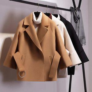 Women's Wool & Blends Petite Short Woolen Coat Female Autumn And Winter Student Cape Waist Camel XOAF