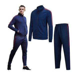 Eğitim Takım Elbise Erkekler Şerit Baskılı Kazak Spor Seti Spor Hızlı Kuru Koşu Ceketler Spor Vücut Geliştirme Eşofman