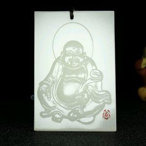 Jade naturel Hetian Jade Jade blanc Maitreya Buddha Tag Pendentif Kunlun Buddha Statue Pendentif Brand SUET Pendentif