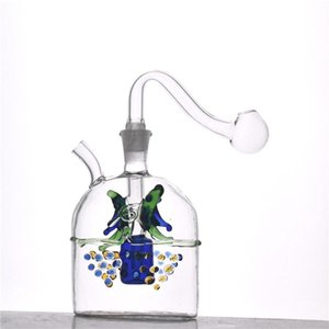 Glass Oil Burner bong Mini Glass Hookah Smoking water Bong Hand Craft Art recycler bong with glass oil burner pipe and silicone tube 1pcs