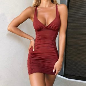 2021 New Style Women Fashion V-neck Backless Mini Dress Ladies Sexy Sleeveless Ruched Solid Color Slim Pencil Dress Summer