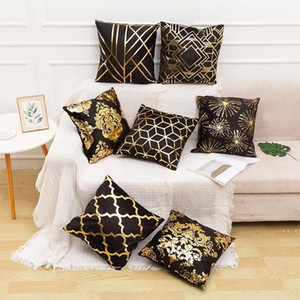 Black White Bronzing Cushion Cover Decorative Pillows Fashion Seat Cushions Home Decor Geometric Throw Pillow Sofa Pillowcase BWF5390