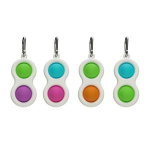 100PCS DHL Push Bubble Keychain Kids Adult Novel Fidget Simple Dimple Toy Pop It Fidget Toys Key Holder Rings Bag Pendants H2106