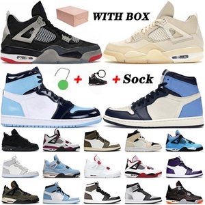 retro 1 1s 4 4s off white WITH BOX 4 4s Bred Sail Travis Jumpman 1 1s High Obsidian UNC Basketball Shoes Mens Women Black Cat Chicacgo Trainers Sneakers 36-47