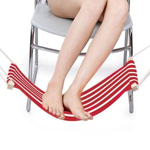 Outdoor Games & Activities Portable Adjustable Mini Office Foot Rest Foot Stool Stand Desk Hammock (Red And White Stripes)