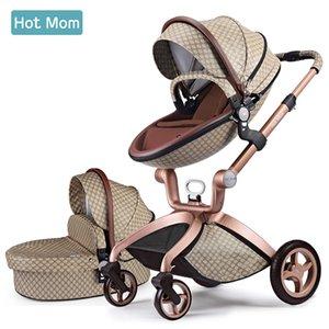Hot Mom Baby Stroller 2 em 1 Sistema de viagem Alto carrinho de scape-escape com Bassinet em 2021 carruagem dobrável para recém-nascidos Baby, F22