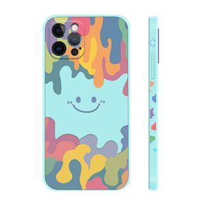 Mobile Phone Cases iPhone13 ProMax Liquid Side Smiley Pattern Apple 12 Silicone Full