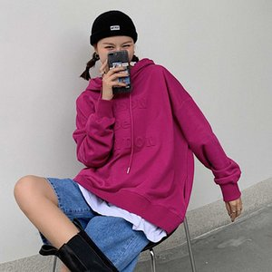 Qianchun concave convex letter hooded sweater women 2020 autumn new Korean loose casual Pullover Jacket Women