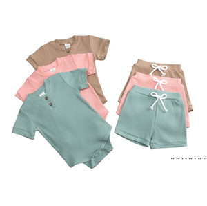 Baby Clothes Set Boy Girls Solid Rompers Shorts Headband Clothing Sets Kids Jumpsuit Candy Color Shorts Suits FWE4754