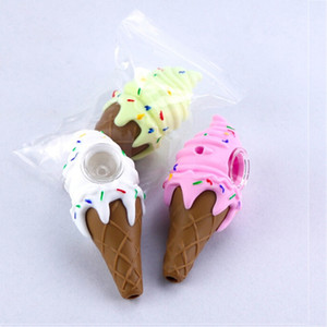 Ice cream cool pipe for smoking dab herb tobacco silicone bong girly design cone hand pipe 3 color box package