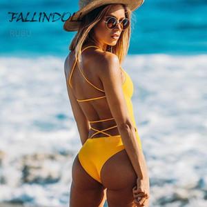 Fallindoll um pedaço de maiô mulheres swimwear bandagem bandagem sólida biquíni maiô Monokini nadar wear badpak natação terno para mulheres