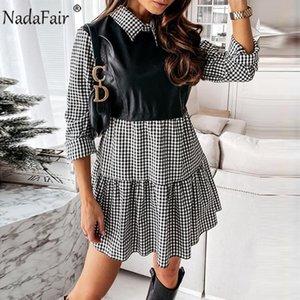 Nadafair Plaid Vestido de mujer Casual 2021 A-Line PU Cuero Patchwork manga larga Vestidos Partido Elegante Mini vestido de mujer