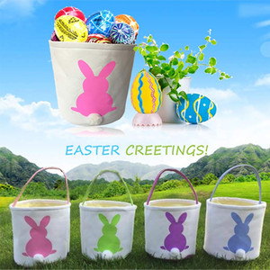 Easter Bunny Basket Egg Bags for Kids,Canvas Cotton Personalized Candy Egg Basket Rabbit Print Buckets with Fluffy Tail Gifts Bags for East
