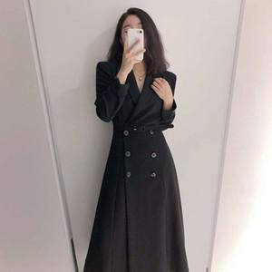 Korean chic elegant Lapel double row buckle lace up waist show slim long sleeve trench coat