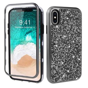 For Iphone 8 7 6 Plus XS MAX X XR PC Silicone 3 In 1 Bling Back Drop Protective Phone Case Cover