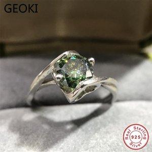 Geoki Pasted Diamond Test 1 CT Perfect Cut Green Moissanite Ring Luxus 925 Sterling Silber Vintage Smaragd Eheringe Ringe