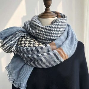 Haze blue thousand bird scarf versatile in autumn and winter