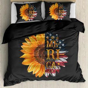 HUGSIDEA Sunflower Print Duvet Sheet & Pillowcase 3Pcs set Sunshine Sunflowers Bedding Cover for Bedroom Gut Room Comfortable
