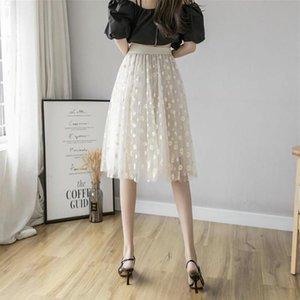 Skirts White 3D Flower Lace Skrit Women High Waist Mesh Long Female Elegant Midi Tulle Skirt Sweet Cute Student School Wear Saias