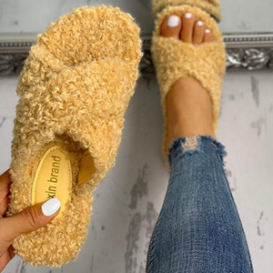 2021 Fur Slippers Women Shoes Elastic Band Flat Slides Female Sandals Lazy Flip Flops Indoor Home Slippers Casual Shoes
