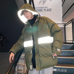 Reflective Article Puffer Jackets for Men Winter 2021 Fashion Trend Padded Clothing with Hood Teens Oversized Hip Hop Streetwear