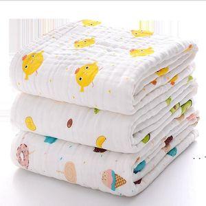 طفل منشفة حمام الطباعة الكرتون الشاش لينة امتصاص الماء الأطفال مناشف لحاف الرضع القطن بطانية مناشف الحمام الجلباب owb5262