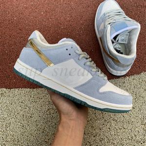 2021 Sean Cliver X Skate Board Low Shoe Pro Mulheres Homens Branco Psychic Blue Shoes Metálico Ouro Férias Especiais Sneakers Mens