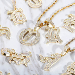 Fashion Hip Hop Custom Name Letters Pendant Necklace Gold Silver Bling CZ Custom Letter Pendant Necklace for Men Women Jewelry Gift