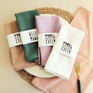 Free Shipping Cotton Linen Cloth Table Napkin Home Wedding Party Kitchen Cup Dishes Napkins Table Decorative 40x40cm
