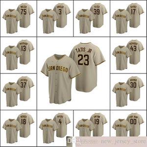 2020 Baseball Men #13 Manny Machado 23 Fernando Tatis Jr. 19 Tony Gwynn YATES DAVIES Custom Women Youth KID Sand Brown Alternate Jersey