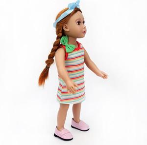 Kız DIY Giydirme Giysi Kırmızı Turuncu BUP Bebek Giysileri Kırmızı Turuncu Mavi Çizgili Askı Elbise Bebek Amerikan Bebek Giysileri Özel