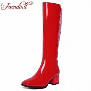 Facndinll design clássico forma de patente de couro outono botas de inverno mulher joelho alto botas altas saltos quentes sapatos mulher longo salto alto b f45f #