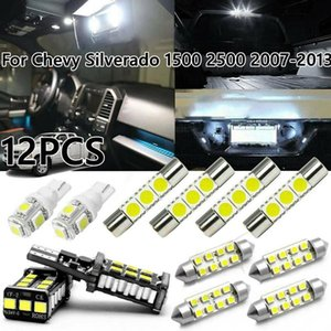 Car Headlights 12X White LED Interior Dome Map Lights Package Kit For Chevy Silverado 1500 2500 2007-2013