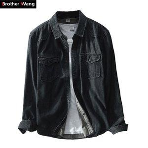 Brother Wang Brand Brand Primavera New Men Casual Casual Black Denim Shirt 100 Cotton Fashion Slim Maniche lunghe Camicie Abbigliamento maschio 210305