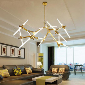 Modern Branch Iron Chandelier Fashionable living room Restaurant Theme lamp Nordic Glass Light G9 lamp Bulbs