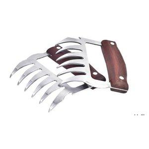 Металлические когти мяса из нержавеющей стали Мясные вилки с деревянной ручкой барбекю мясо измельчителя когтей кухонные инструменты EWF5334