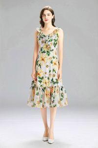 Fashion New Women's Chiffon Dress Summer Floral Printing Dresses V Neck Ruffle Style Lady's Casual Dress