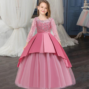 2021 Winter Long Bridesmaid Princess Dress Girl Kids Dresses For Girls Children Party Wedding Prom Dress Elegant 14 10 12 Years
