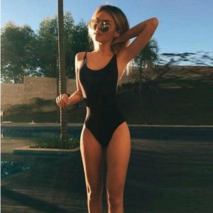 Women Swimwear Sexy High Cut Female One Pieces Swim Suit Solid Black Thong Swimwear Padded Backless Monokini Bathing Suit 2.27