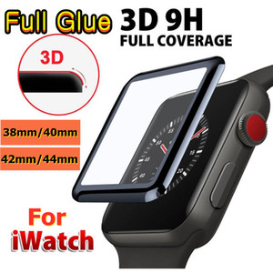 3D Full Glue Tempered Glass Screen Protector For Apple Watch 4 5 6 Full Cover Bubble-Free 40mm 42mm 38mm 44mm Film For iWatch Series 1 2 3