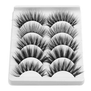 False Eyelashes 5 Pairs 3D Soft Mink With Glue Wispies Mixed Styles Natural Long Lashes Handmade Full Strips Eyelash Makeup