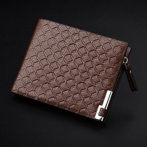 Luxury Synthetic Leather Men Wallet Embossed Small Soft Zipper Casual Purse Short Holder Bifold Money Coin Slim