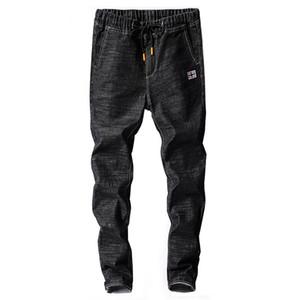 Mens jeans japão estilo primavera outono cintura elástica preto cordilheira preto jean homem casual denim calça calças jumes homme