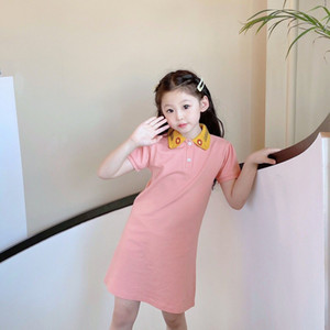 2021 free shipping baby girl dress Girls Summer Short Sleeve Polo Dress for 2-12 Years Kids Cute Sweet Girlish Clothes