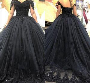 Gothic Black Ball Gown Wedding Dresses Plus Size Off Shoulder Lace Appliques 2021 Arabic Gothic Bridal Gowns Sequins Puff Vestidos De Fiesta