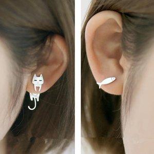 Stud Fashion Asymmetrical Cat Fish Pendant Earrings Cute For Women Girls Kids Jewelry Gifts Accessory
