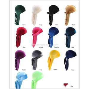 14 Style Unisex Velvet Durags Bandana Turban Hat Pirate Caps Wigs Doo Durag Biker Headwear Headband Pirate Hat Hair Wmtzif Weqlr Hjfdy