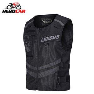 LYSCHY LED Light Motorcycle Reflective Protective Gear Riding Safety Vest Racing Sleeveless Motorbike Jacket Moto Clothing