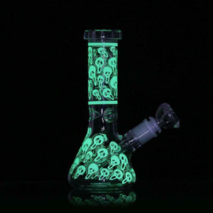7.8''Hookah Smoking Bong Glow in the Dark Skull Luminous Beaker Glass Water Pipe
