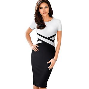 Manley Arty Vintage Elegante Color de contraste Color Ropa para trabajar Vestidos Fiesta de negocios Oficina Mujer Bodycon Vestido